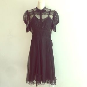 Vintage 1940's Black Lace Chiffon Dress Midi 6/8